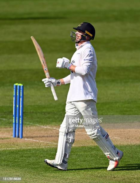 Stiaan van Zyl of Sussex celebrates reaching his century during day two of the LV= Insurance County Championship match between Glamorgan and Sussex...
