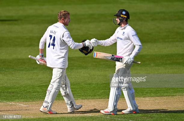 Stiaan van Zyl of Sussex celebrates reaching his century with George Garton of Sussex during day two of the LV= Insurance County Championship match...