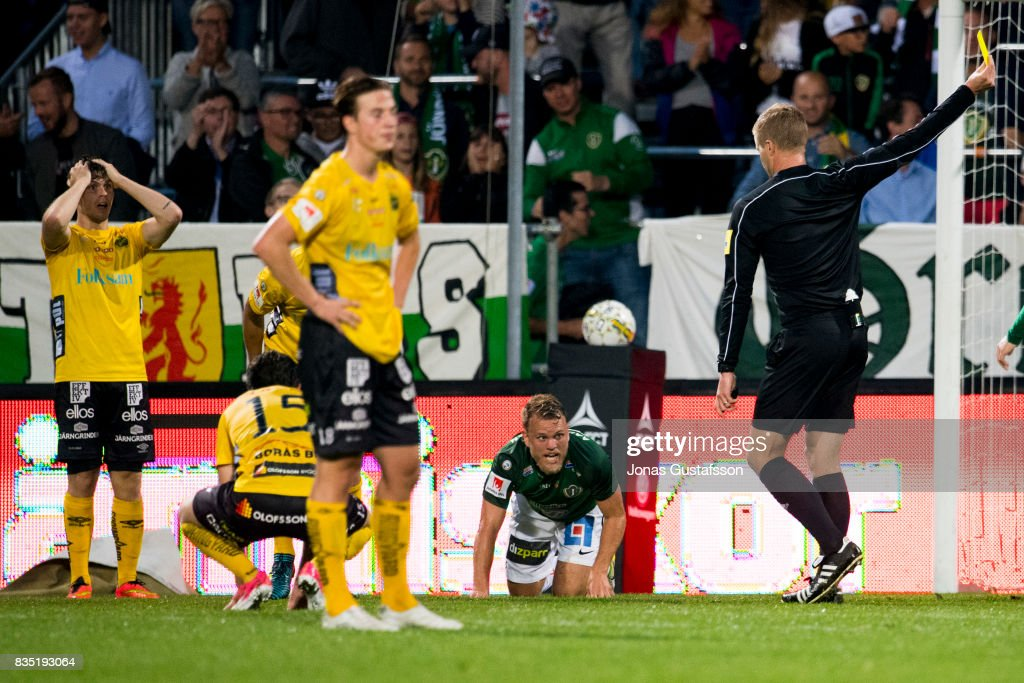 Stian Aasmundsen of Jonkopings Sodra react during the Allsvenskan match between Jonkopings Sodra IF and IF Elfsborg at Stadsparksvallen on August 18, 2017 in Jonkoping, Sweden.