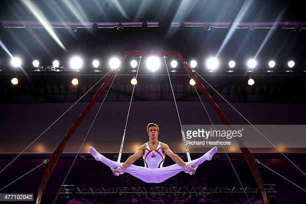 Stian Skjerahaug of Norway competes on the Rings during day two of the Baku 2015 European Games at National Gymnastics Arena on June 14 2015 in Baku...