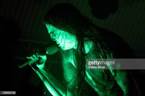 Stian Tomt Shagrath Thoresen of Dimmu Borgir performs on stage at Cockpit on November 19, 2011 in Leeds, United Kingdom.