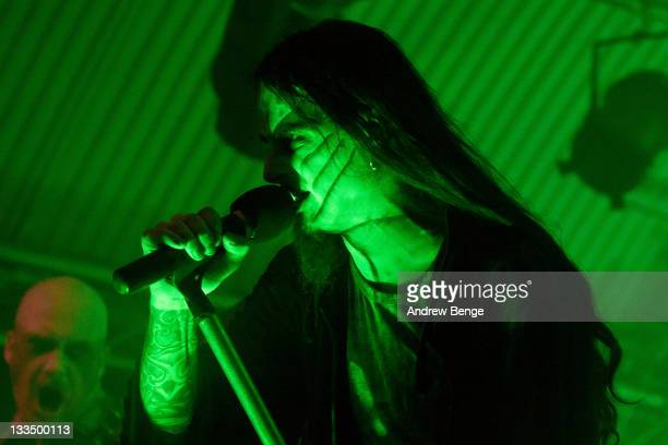 Stian Tomt Shagrath Thoresen of Dimmu Borgir performs on stage at Cockpit on November 19 2011 in Leeds United Kingdom