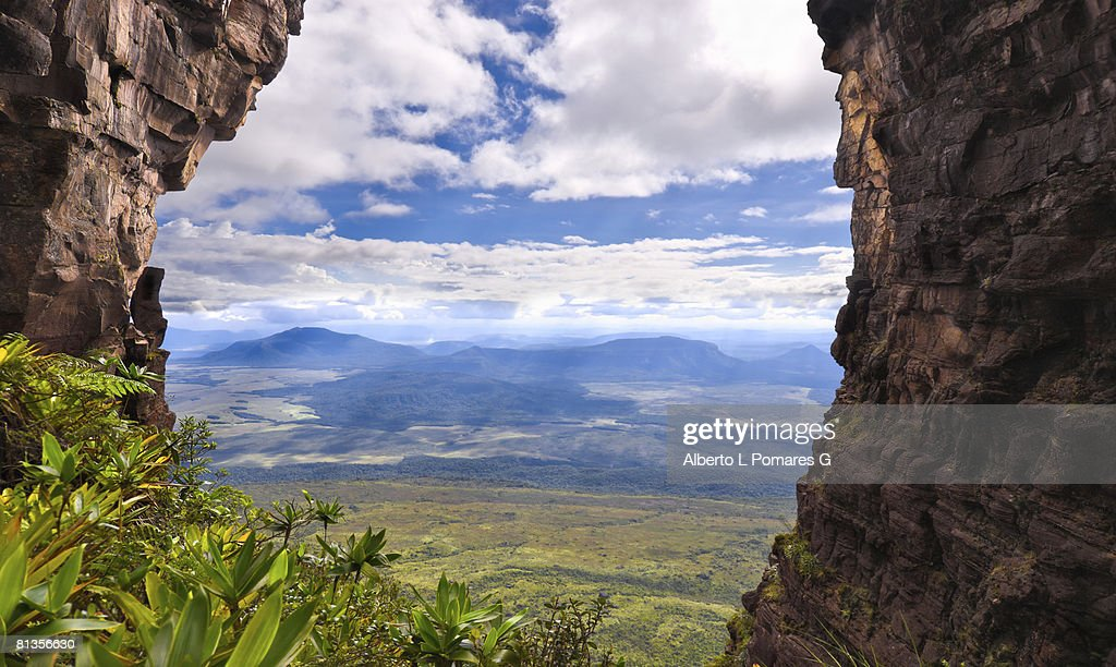 Stiched and HDR image of The Window (La Ventana): Opening among cathedral rock formations on the south face of Auyan Tepuy table top mountain in Gran Sabana, Edo. Bolivar, Venezuela : Stock Photo