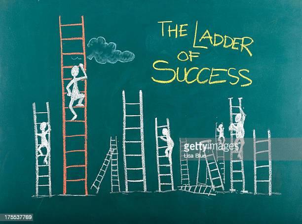 Représentation humaine en traits escalade échelle de la réussite