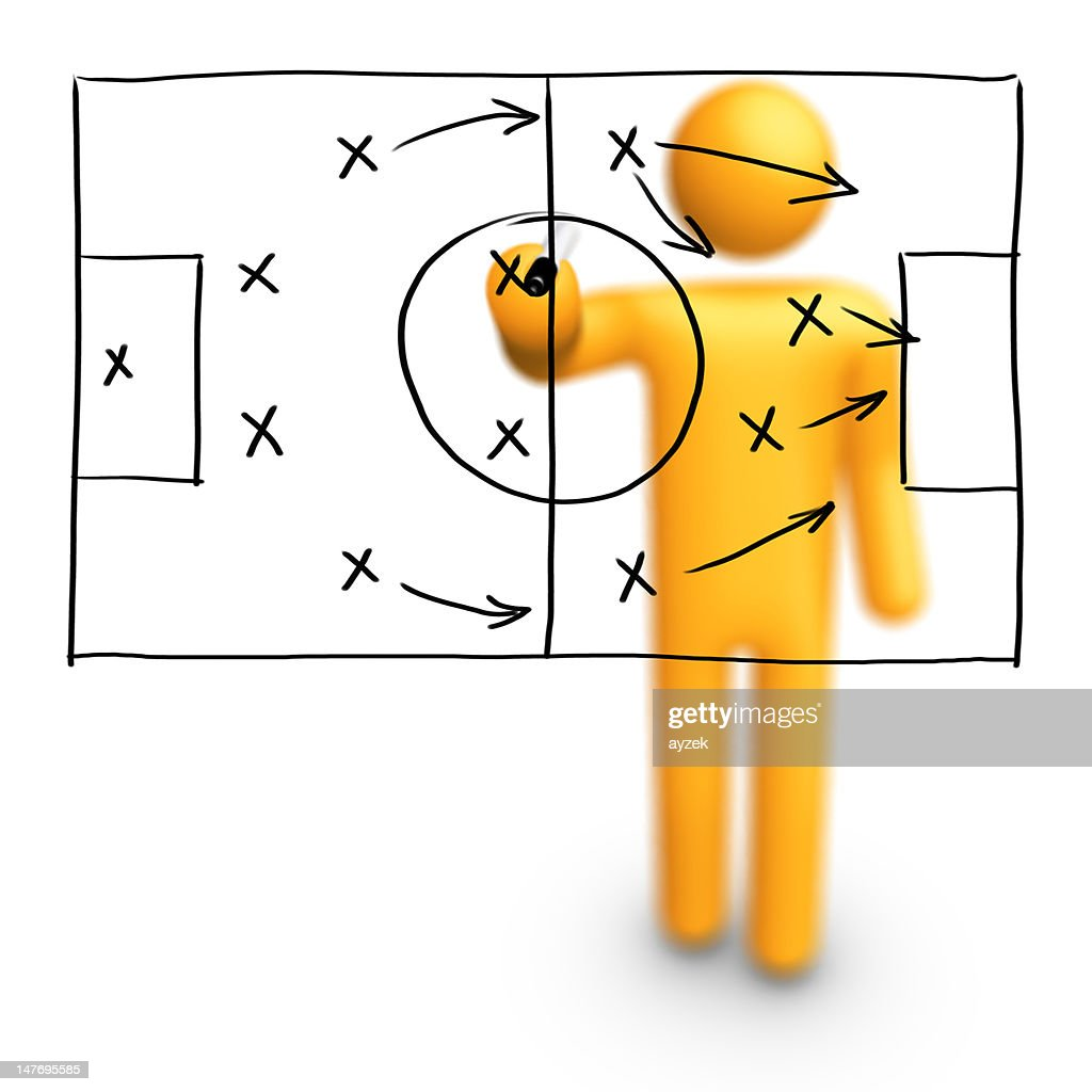 Stick Figure Coach Soccer Strategy Stock Photo Getty Images
