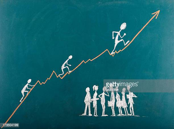 Strichmännchen Klettern Sie die Leiter zum Erfolg