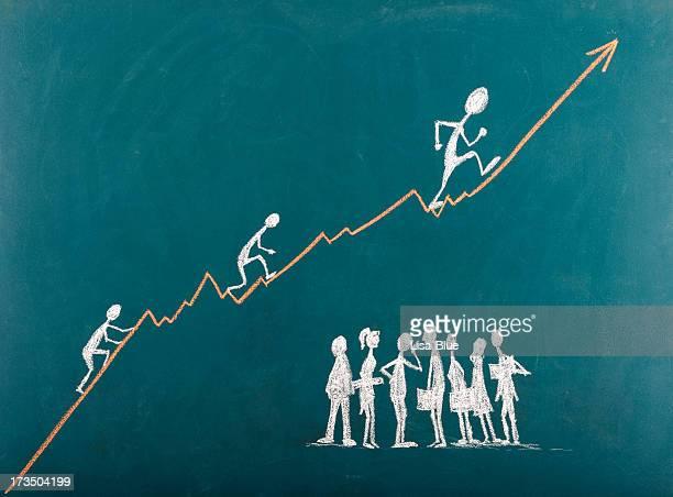 Stick Figures Climbing The Ladder To Success