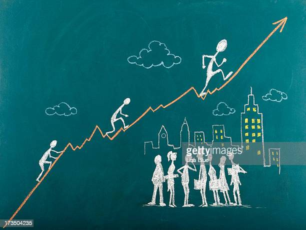 Stick Figures Climbing The Ladder to Success