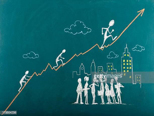 Stick cifras del ascenso por la escalera del éxito