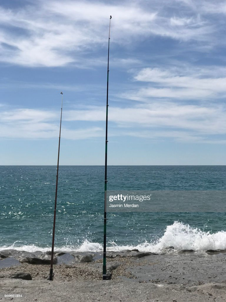 Stick for fishing on beach : Stock-Foto