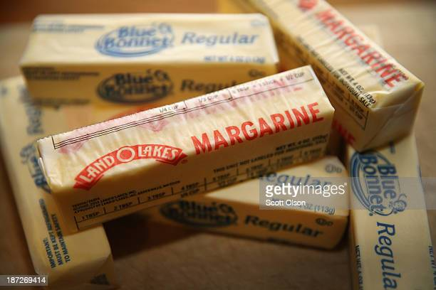Stick margarine and other food items which contain trans fat are shown on November 7 2013 in Chicago Illinois The US Food and Drug Administration...