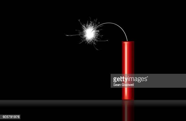 stick of red dynamite - explosives stock photos and pictures