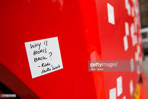 A sticker asking 'Why is Boris Back' on a 'Vote Leave' battle bus after it was rebranded outside the Houses of Parliament in Westminster by the...