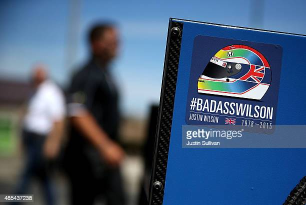 A sticker honoring the late Indy car driver Justin Wilson flies is displayed on the No 25 Andretti Autosport Honda after it crossed the Golden Gate...