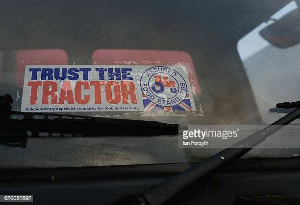 Sticker is displayed in the windscreen of a lorry during the annual ploughing match on November 27, 2016 in Staithes, United Kingdom. The event which...