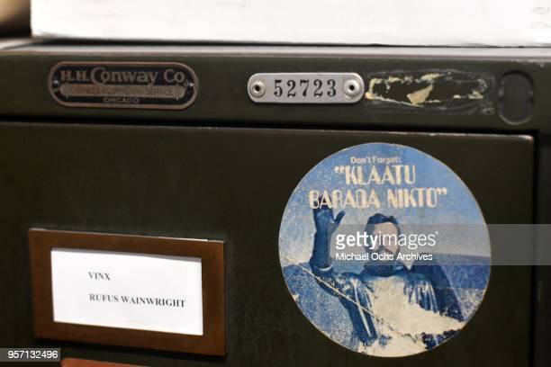A sticker on a file cabinet features a picture of Ringo Starr and reads Klaatu Barada Nikto in the Michael Ochs Archives on May 10 2018 in Los...