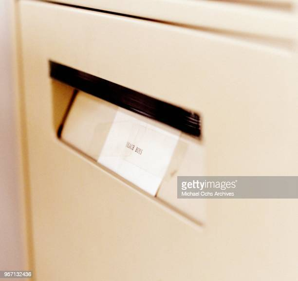 A sticker on a file cabinet reads Beach Boys in the Michael Ochs Archives on May 10 2018 in Los Angeles California