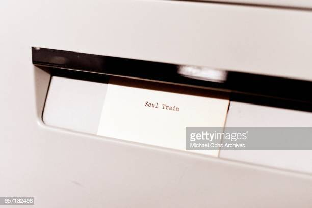 A sticker on a file cabinet reads Soul Train in the Michael Ochs Archives on May 10 2018 in Los Angeles California