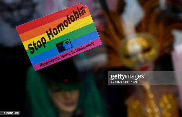 TOPSHOT A sticker reading Stop Homofobia is pictured during the Gay Pride 2018 parade in Madrid on July 7 one of the world's biggest