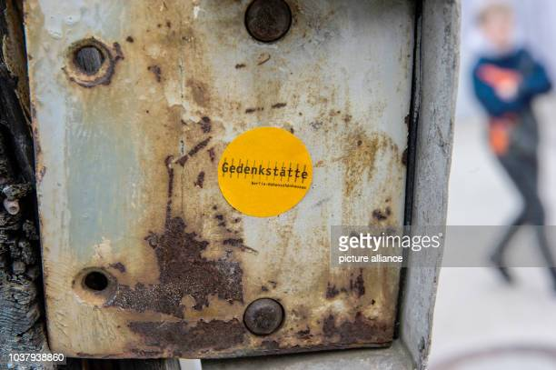 Sticker reads 'Berlin-Hohenschoenhausen Memorial' at a lock of the Berlin-Hohenschoenhausen Memorial to the victims of the East German Ministry for...