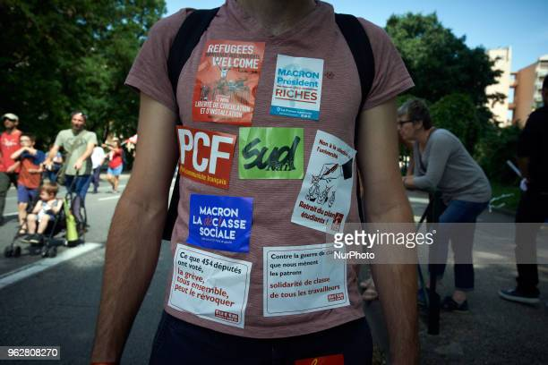 Stickers against Macron's policies A quotmaree populairequot demonstration was called by more than 60 political organisations associations and unions...