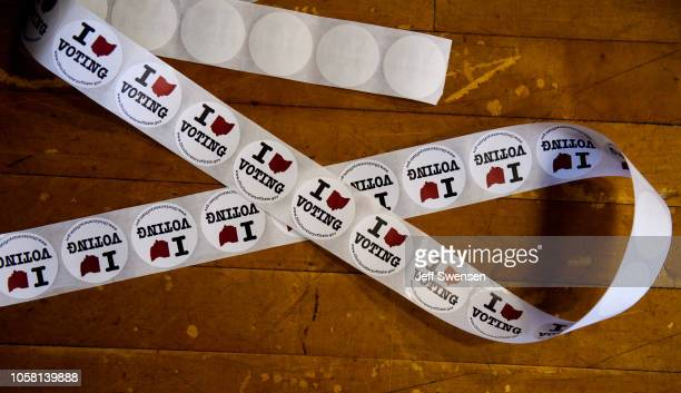 Stickers are available for voters who have cast their ballot at the Franklin Elementary School on November 6 2018 in Kent Ohio Turnout is expected to...