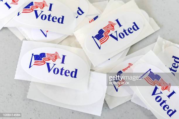 I VOTED stickers are seen at a polling station on the campus of the University of California Irvine on November 6 2018 in Irvine California on...