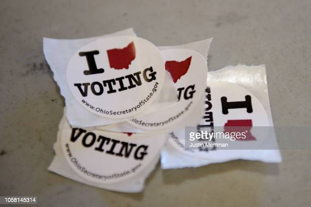 Stickers at the Guernsey County Senior Center polling location on November 6 2018 in Cambridge Ohio Turnout is expected to be high nationwide as...
