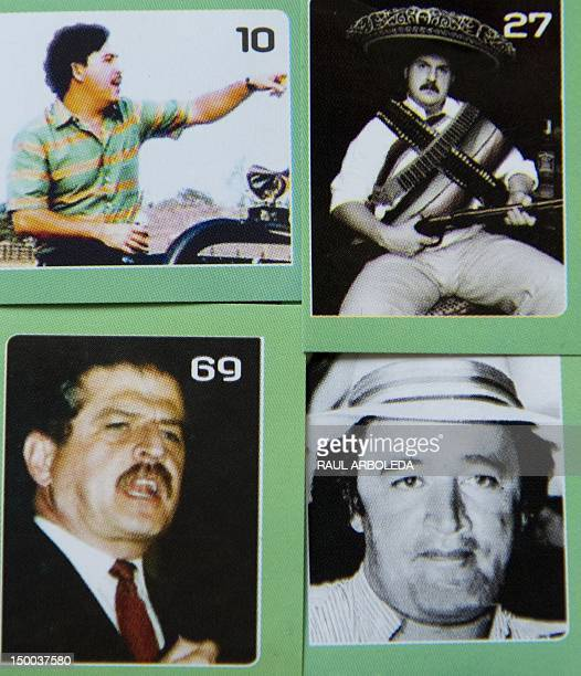 Stickers for a theme album about the life of late drug lord Pablo Escobar in the Santo Domingo Savio shantytown in Medellin Antioquia department...