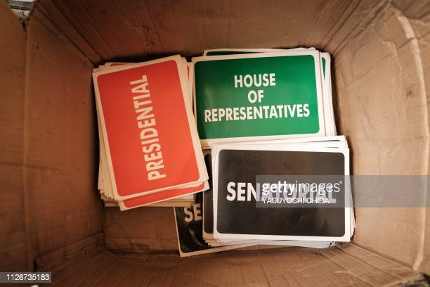 TOPSHOT Stickers for ballot boxes are seen during the electoral preparation at a local office of the Independent National Electoral Commission in...