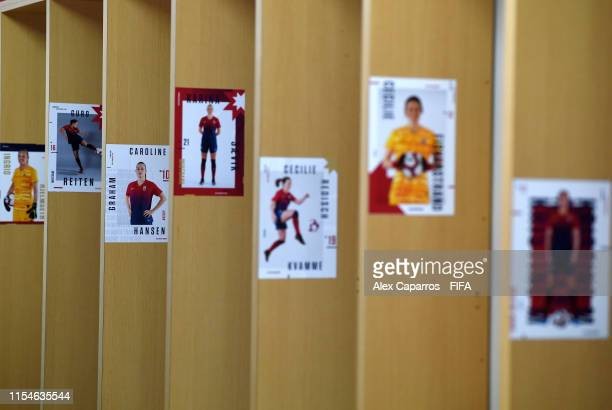 Stickers indicating players seats within the dressing room are seen inside the Norway dressing room prior to the 2019 FIFA Women's World Cup France...
