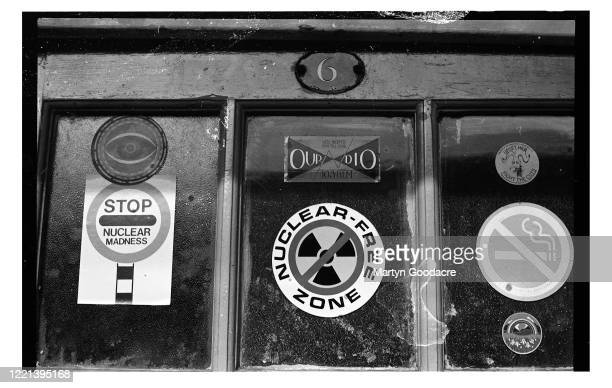 Stickers on the door of a squat in London circa 1983