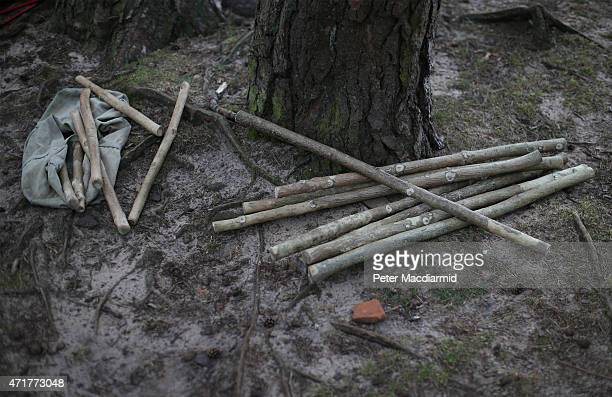 Sticks belonging to Pilgrim Morris Men lie on the ground on St Martha's Hill ahead of a dawn May Day celebration on May 1 2015 in Chilworth England...