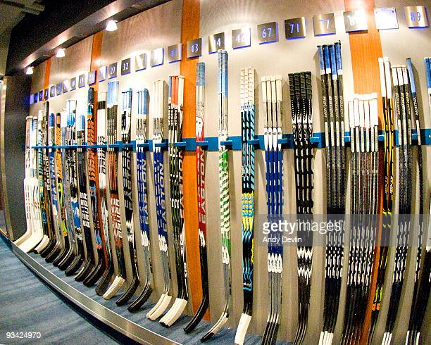 Sticks wait on the rack of the Edmonton Oilers' dressing room before a game between the Oilers and the Los Angeles Kings at Rexall Place on November...