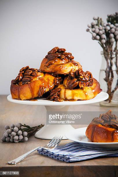 Sticky buns on cake stand