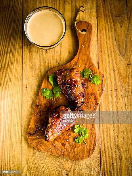 sticky chicken drumstick