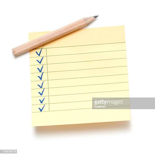 sticky note and pencil isolated on white background - to do list stock pictures, royalty-free photos & images