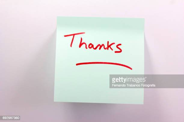 Sticky note with the word thank you
