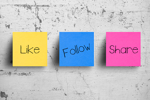 Sticky notes on concrete wall, Like Follow Share 1127689430