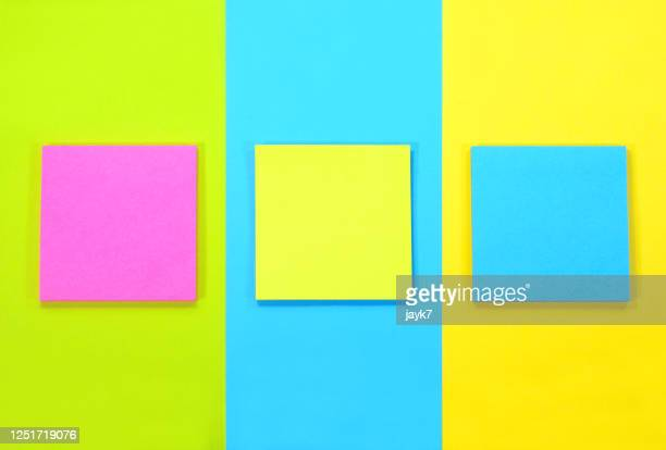 sticky notes - three objects stock pictures, royalty-free photos & images