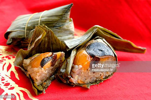Sticky rice dumplings wrapped in leaves, close up