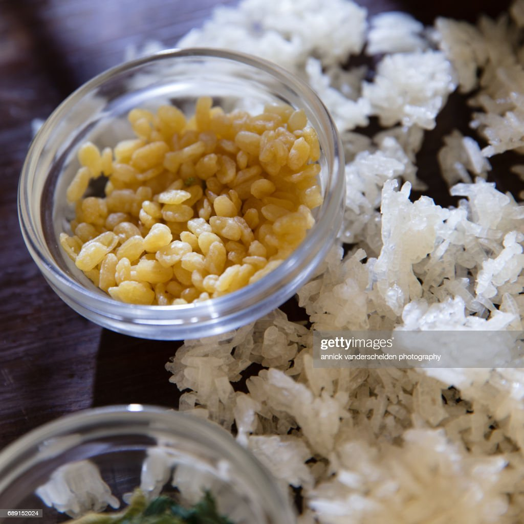 Sticky rice, pandanus leaves and mung beans. : Stock Photo