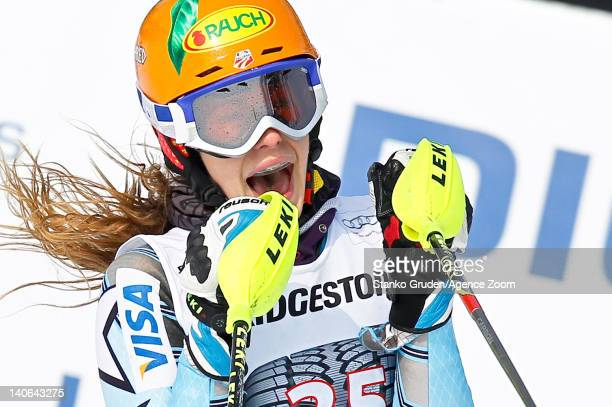 Stiegler Resi of the USA takes 2nd place competes during the Audi FIS Alpine Ski World Cup Women's Slalom on March 4 2012 in Ofterschwang Germany