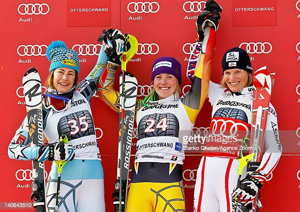 Stiegler Resi of the USA takes 2nd place Erin Mielzynski of Canada takes 1st place Marlies Schild of Austria takes 3 place during the Audi FIS Alpine...