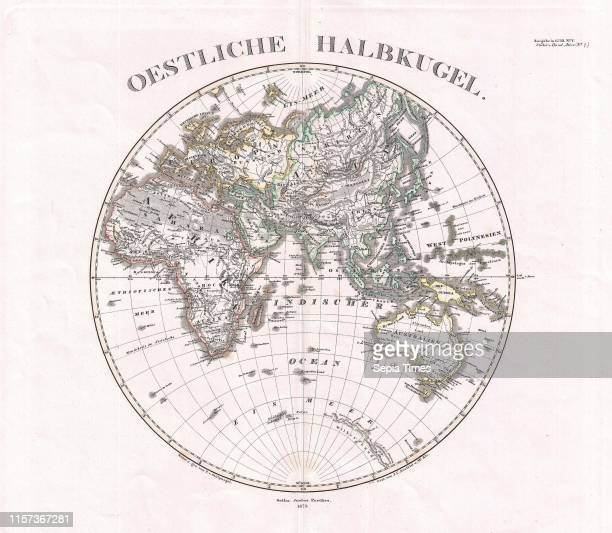 1873 Stieler Map of the Eastern Hemisphere Europe Africa Asia Australia Pacific