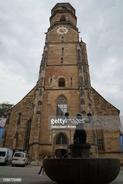stifts kirche church, bell tower, stuttgart, germany - kirche stock pictures, royalty-free photos & images