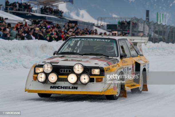 February 2: Stig Blomqvist of Sweden in his Audi Sport quattro S1 during the GP ICE RACE on February 2, 2020 in Zell am See, Austria.