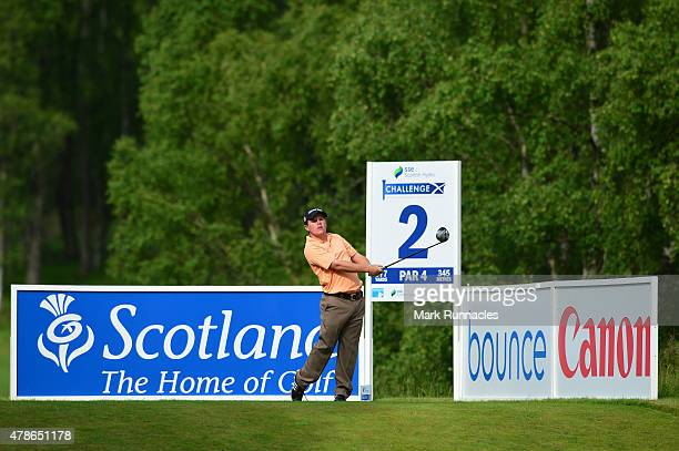 Stiggy Hodgson of England on the 2nd tee during the second round of the 2015 SSE Scottish Hydro Challenge at the MacDonald Spey Valley Championship...