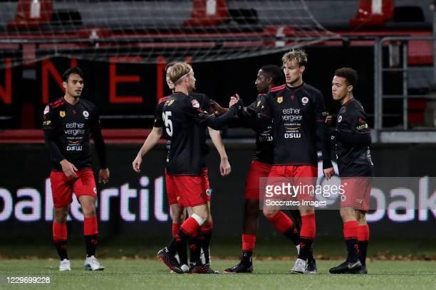 Stijn Meijer of Excelsior celebrates 4-1 with Joshua Eijgenraam of Excelsior during the Dutch Keuken Kampioen Divisie match between Excelsior v AZ...