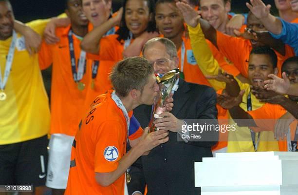Stijn Schaars kissing the trophy at the 2006 UEFA European Under21 Championship Final Netherlands vs Ukraine Netherlands won 30